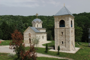 The beautiful little church and bell tower Staro Hopovo