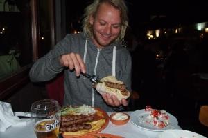 A chevapcici sandwich for dinner
