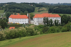 Castle Hrastovec with fields