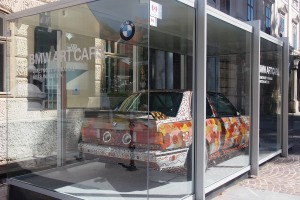 BMW art car advertising the 5200 years of the wheel exhibition.