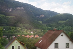 Out of the train window, the postcard scenery between Slovenia and Austria