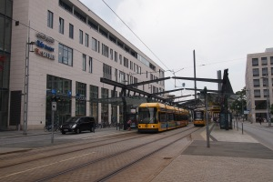 Dresden tram in front of the Ibis hotel.