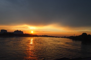 Sunset over the flooded Elbe