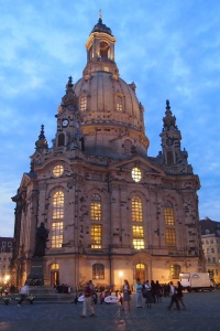 Frauenkirche lit up as evening settled in