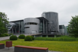 Part of the VW Phaeton factory, the round glass tower is the parking area for completed cars.