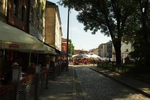 Jewish Quarter restaurant street in daylight