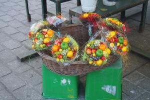 Beautifully colourful fruit bouquets in the square