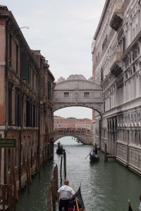 The Bridge of Sighs, look at the crowd on the other side of it.