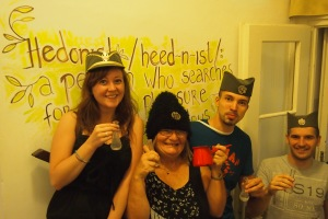We tried to establish some Serbian wall leaning , oh well the hats look good.