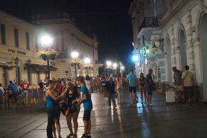 Walking on Knez Mihailovo at night.