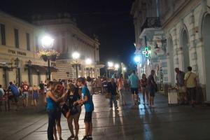 Walking on Knez Mihailovo at night.