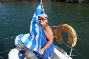 Colours of Santorini on the catamaran.