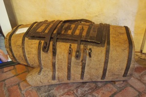A chest made from one piece of oak, 7 people had a lock each. Probably used to hold the church silver.