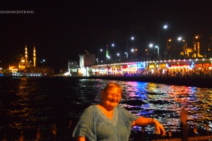 The colourful lights at the port