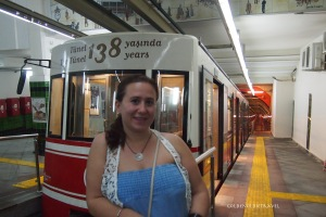 Selin at the subway train.